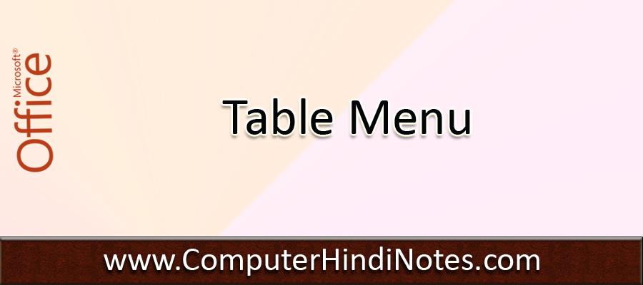 Table-Menu