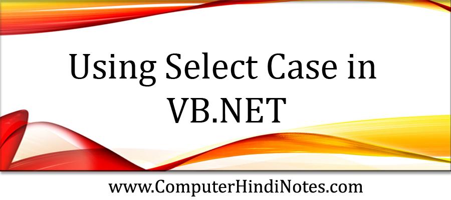 using Select Case in VB