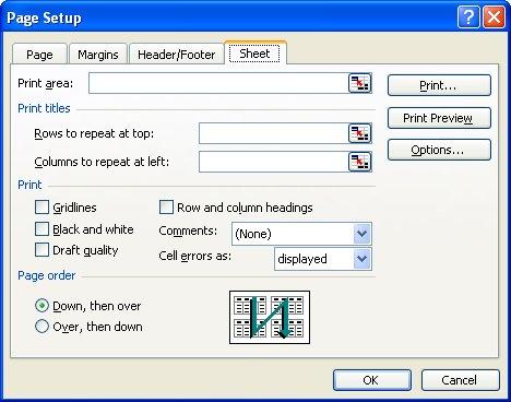 Sheet tab in page setup