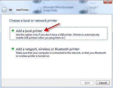 add a local printer