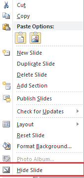 hide slide by right click
