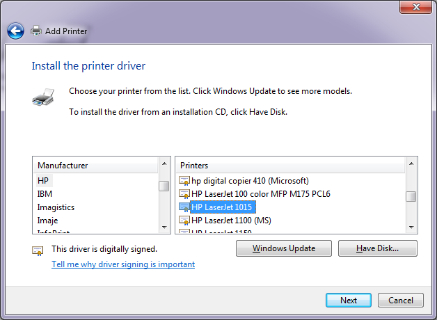 install the printer driver