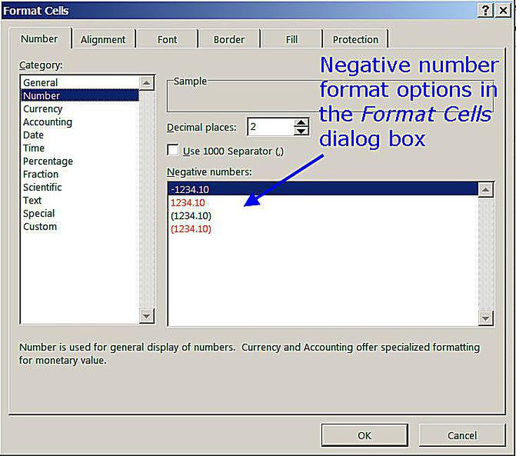 Number format in cell