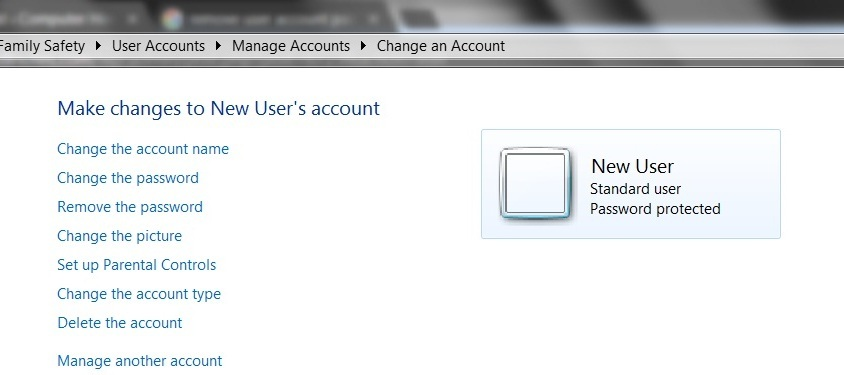 user account options