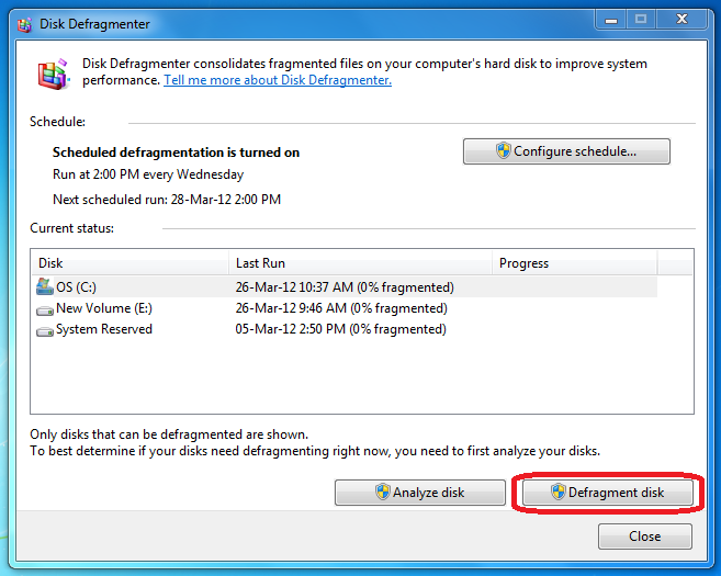 Click Defragment Your Hard Drive.