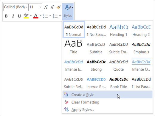 how to create a style in word 2013