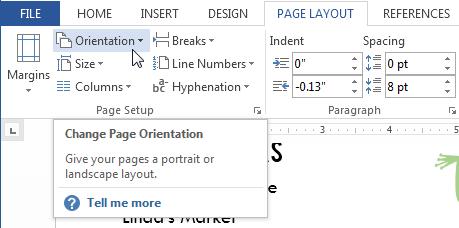 page orientation
