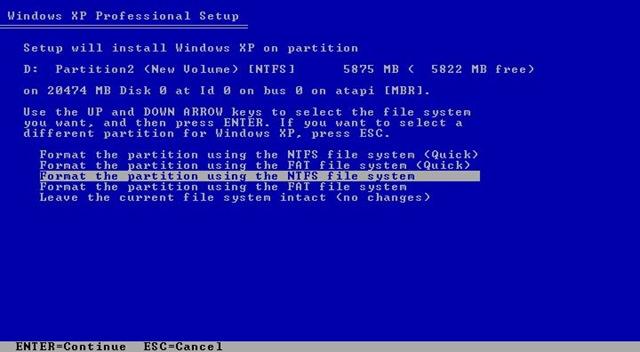 partition format