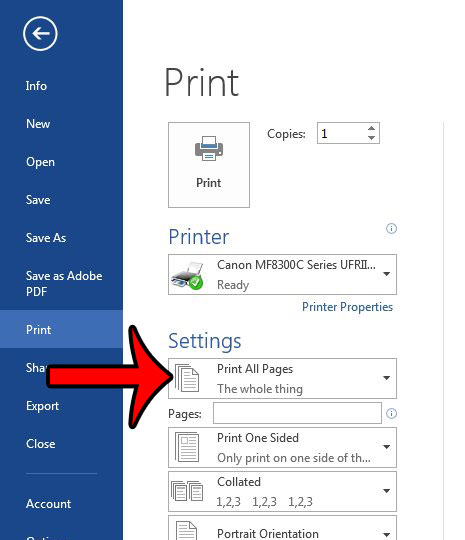 print setting