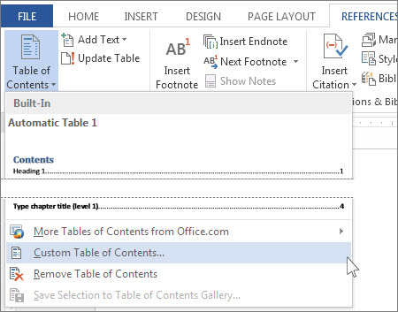 remove table of content