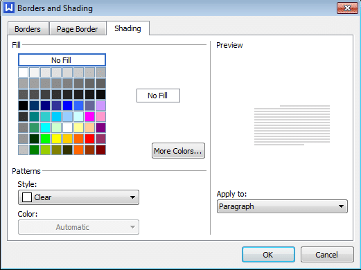 shading tab