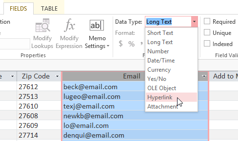 data types in access