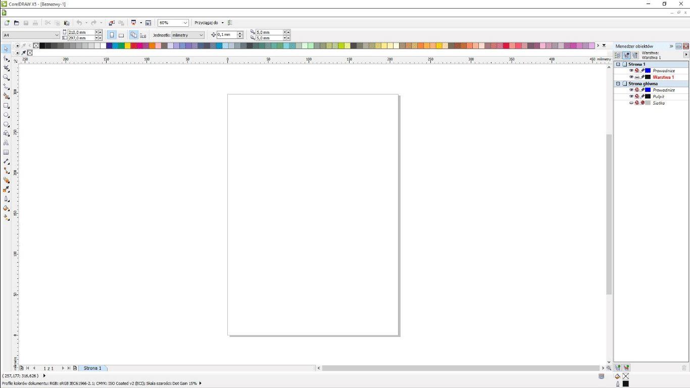 Corel Draw Main Screen