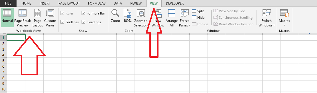 view in excel