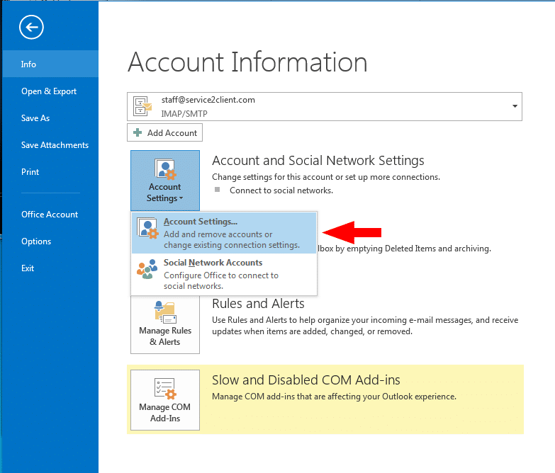 account setting in outlook 2013