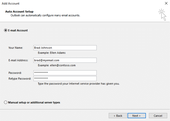 auto account setting outlook 2013