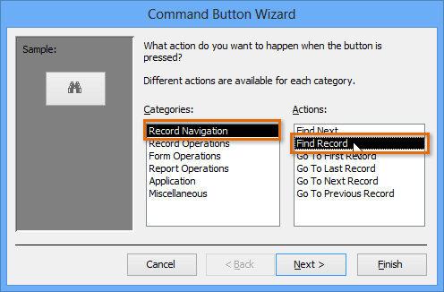 command button wizard