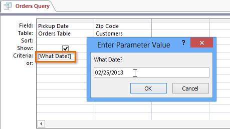 create parameter query