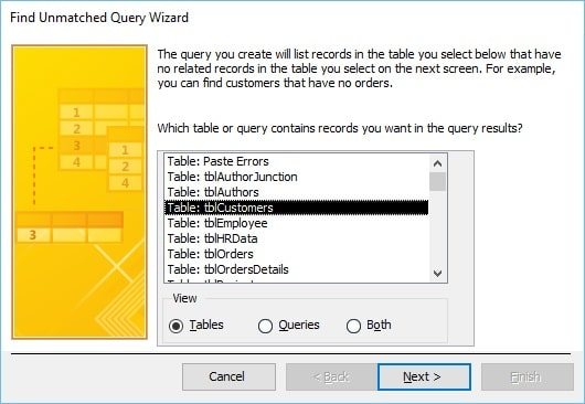 find Unmatched Query Wizard in MS Access 2013