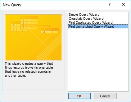 new query wizard in access 2013