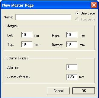 new master page in pagemaker