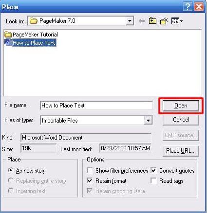 place dialog box