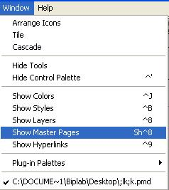 show master page in pagemaker