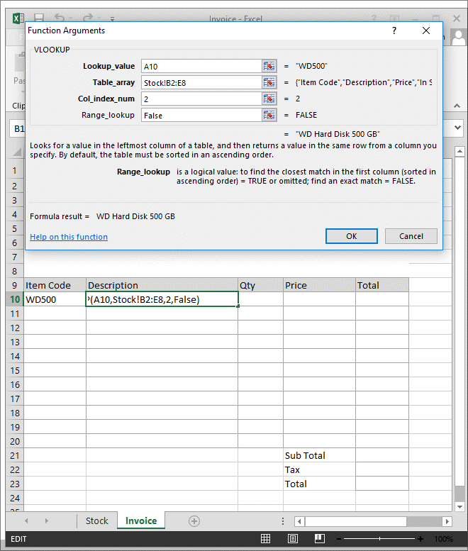 Example of VLOOKUP Function 3