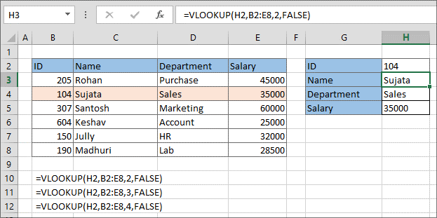 VLOOKUP Retrieves Data Based On Column Number