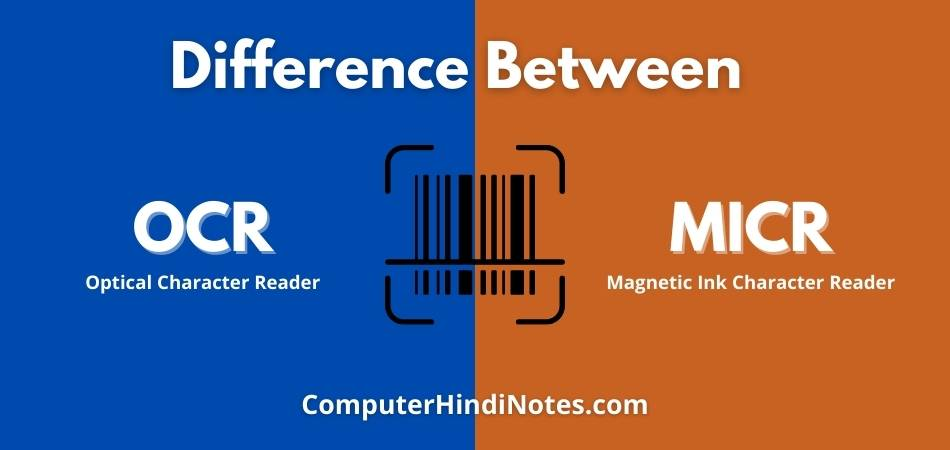 difference between ocr and micr