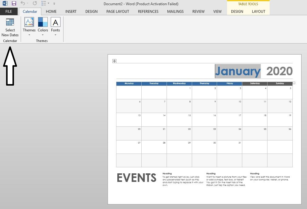 insert a calender in word3