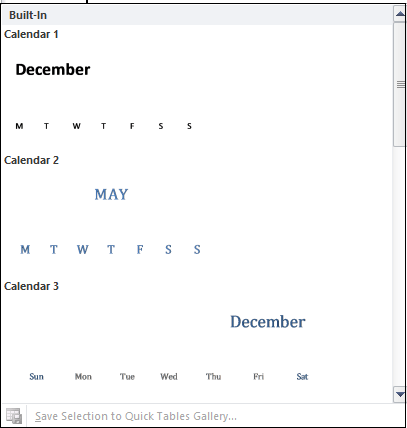 insert a calender in word5