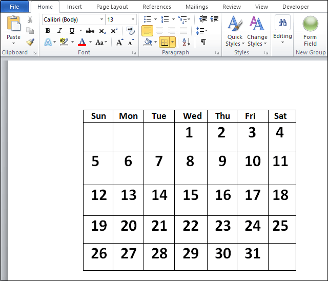 insert a calender in word7