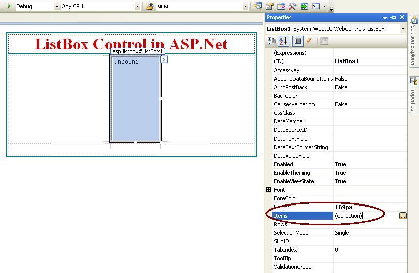 asp net list box items control property
