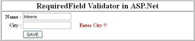 how to use required field validator